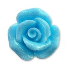 20mm BABY BLUE Glitter Rose Resin Flatback Cabochon